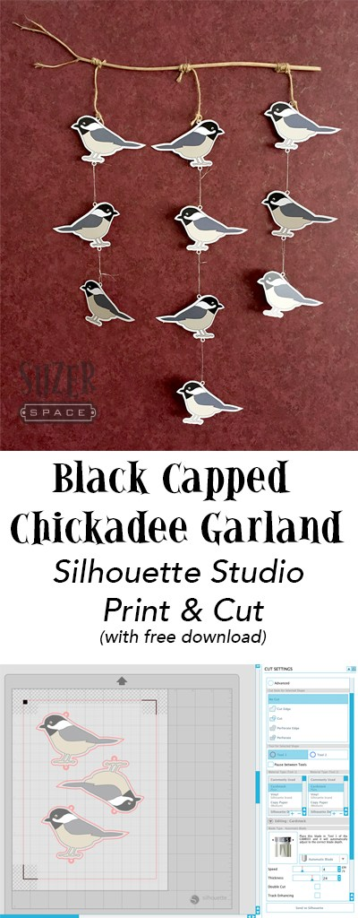 Black Capped Chickadee Garland made using Silhouette Studio's print & cut feature