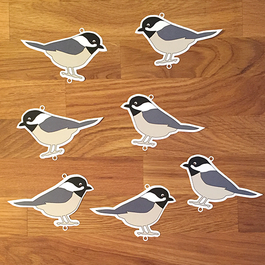 Black Capped Chickadees for a print & cut Silhouette Studio project