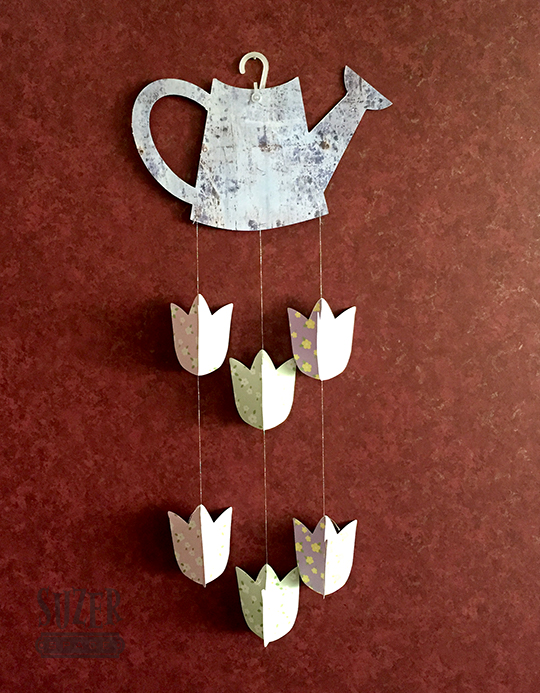 Watering can and tulip paper flower mobile | suzerspace.com