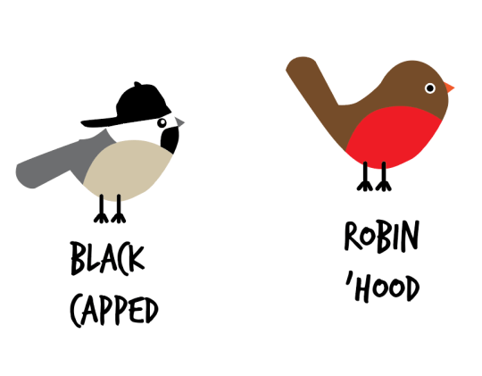 Birds with attitude drawn as basic shapes in illustrator