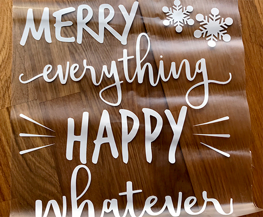 merry everything door sticker on transfer paper