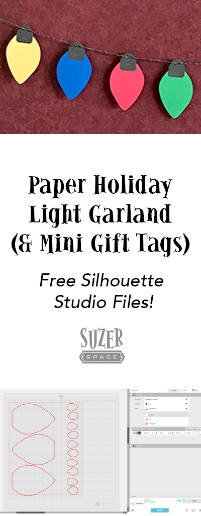 Paper Holiday Light Garland with matching mini gift tags (free cutting files included!) | SuzerSpace.com