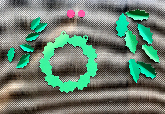 Cut pieces for the mini holly wreath