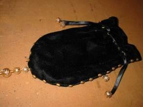 Black velvet Medieval bag