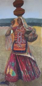 Woman carrying three pots, Ludia, Gujarat