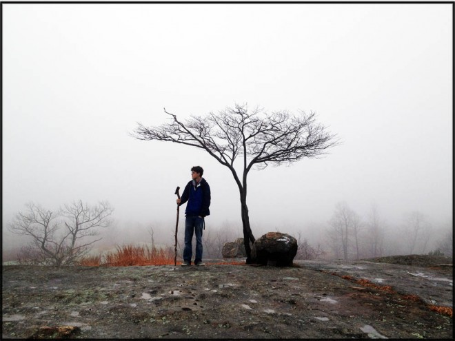 A hiker stands in the early morning fog with a low tree, on a bare rock face, in Harriman State Park, New York. Harriman Park is a rich subject for a New York sports photographer.