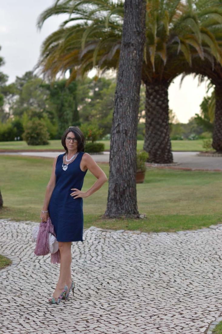 Blue linen shift dress