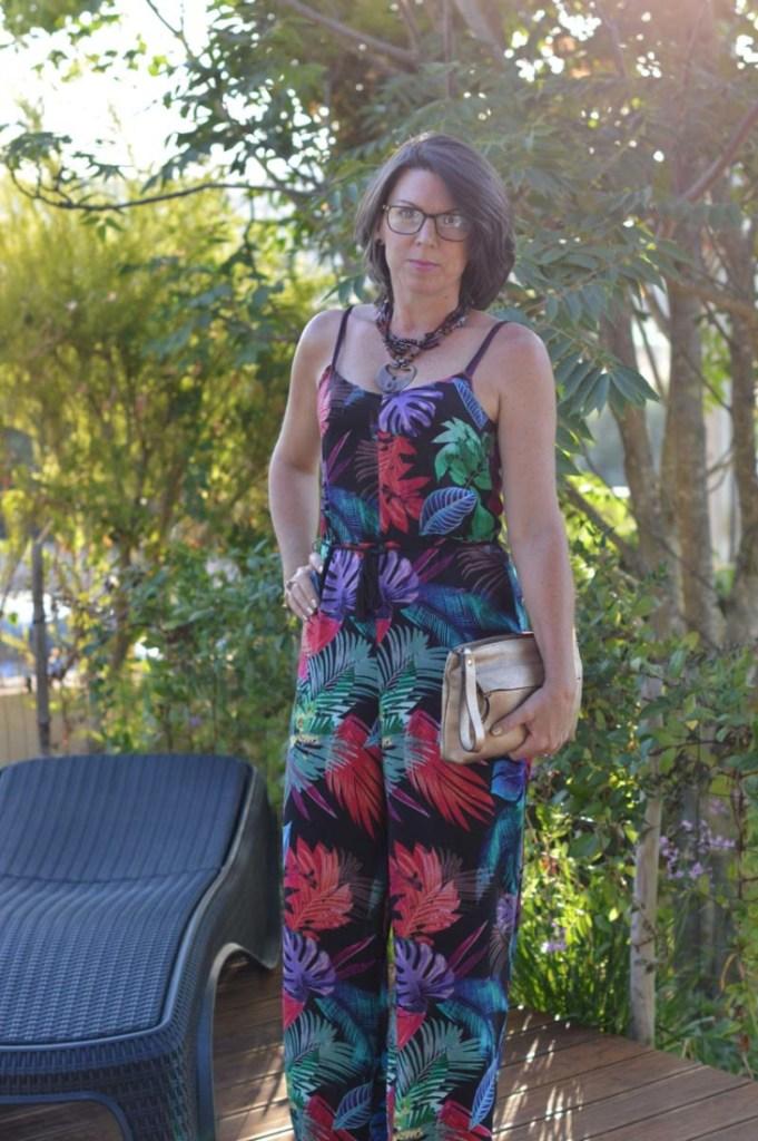 Colourful, leafy print jumpsuit