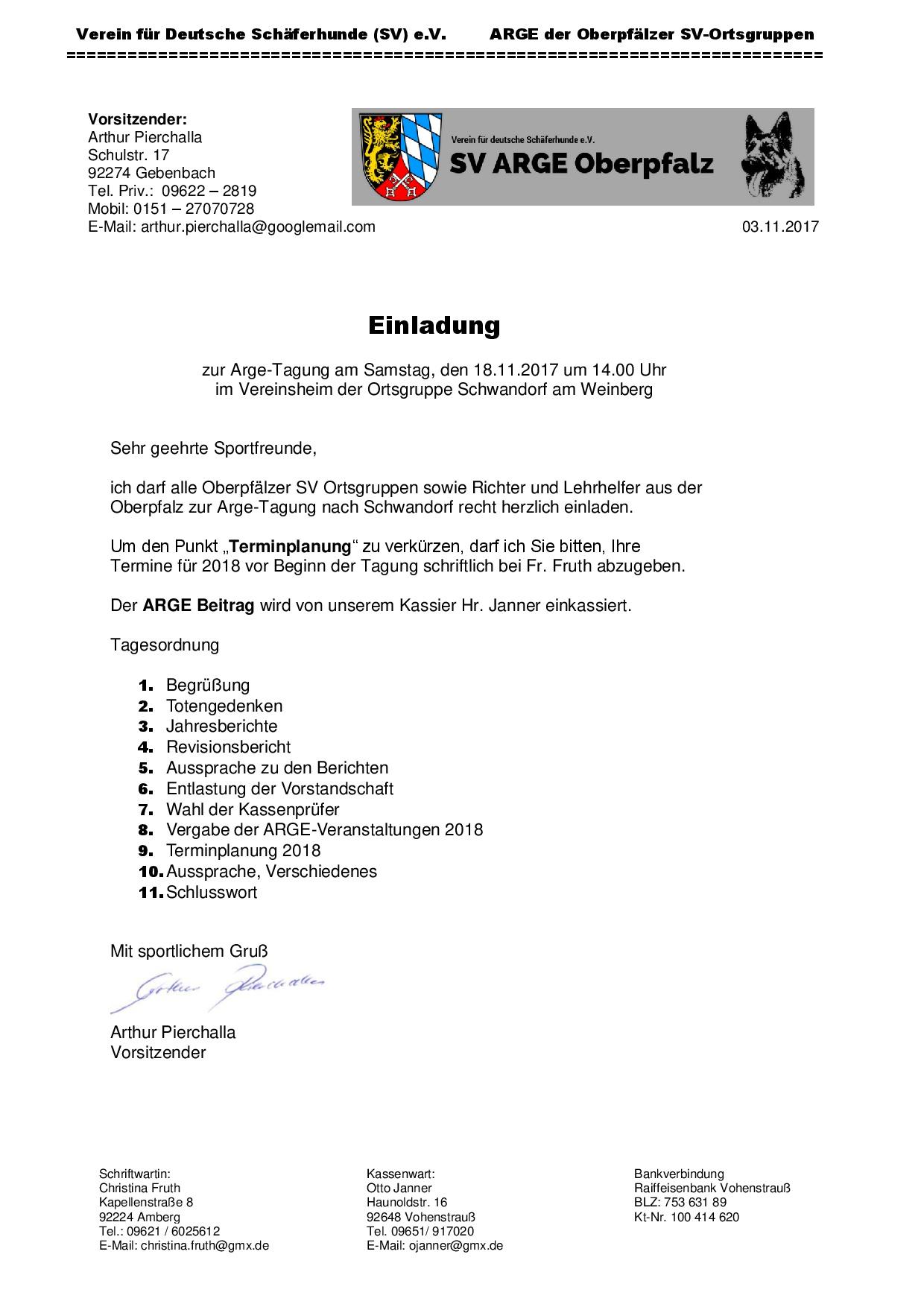 Einladung ARGE Tagung – SV ARGE Oberpfalz