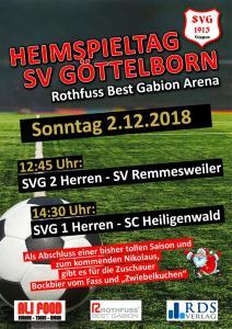 Heimspieltag am 2. Dezember - Fußballverein im Saarland