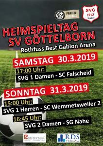 Heimspiele 30. und 31. März - Fußballverein im Saarland