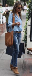 Another V-Secret model, Alessandra Ambrosio, pairing denim chambray with a darker shade of jeans