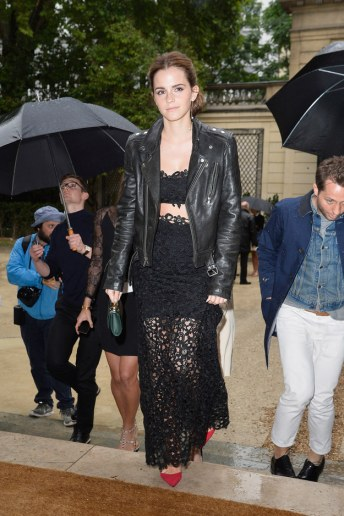 Paris Fashion Week with a Leather jacket to add some edge of course.