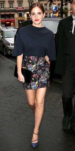 Emma Watson arriving at a Dior Dinner at Paris Fashion Week 2014