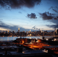 NYC skyline night time sunset from Brooklyn