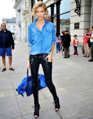 A bright neon denim chambray button down can be worn with leather pants as well!