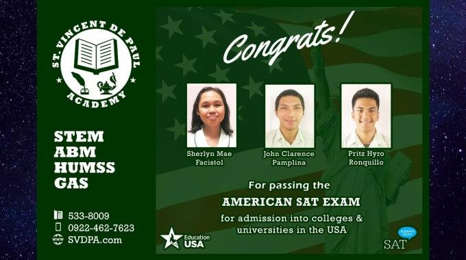 Congrats SAT Passers!