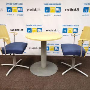 Kinnarps Komplektas Su 2 Yin Mėlynomis Kėdėmis Ir Apvaliu Stalu, Švedija