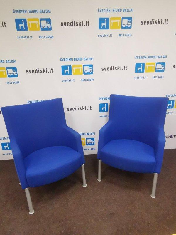 Švediški.ltKinnarps Invito Mėlynas Fotelis Su Aukštu Atlošu, Švedija