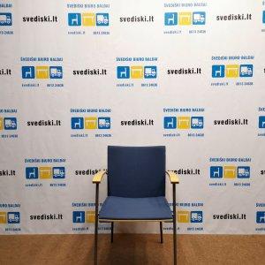 Švediški.lt Lammhults Mėlyna Lankytojo Kėdė Su Buko Porankiais, Švedija