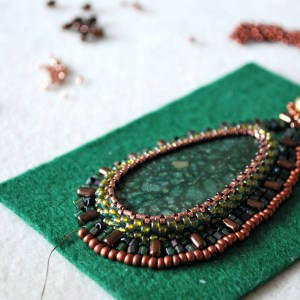 Green Pendant Bead Embroidery - Work in Process