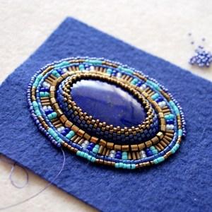 Lapis Lazuli Pendant. Bead Embroidery by Lana Zoubkov