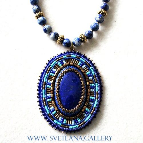 Lapis Lazuli Pendant Bead Embroidery