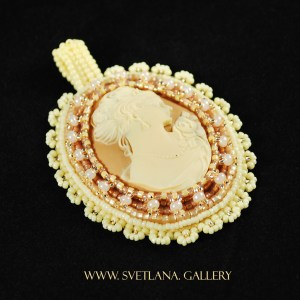 Cameo Bead Embroidery In Natural Colors by Lana Zoubkov