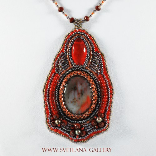 Red Earth Pendant Bead Embroidery