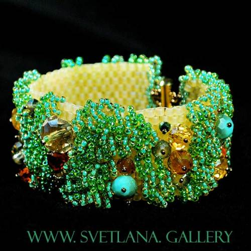 """Evening In The Garden"" beaded bracelet - Svetlana.Gallery"