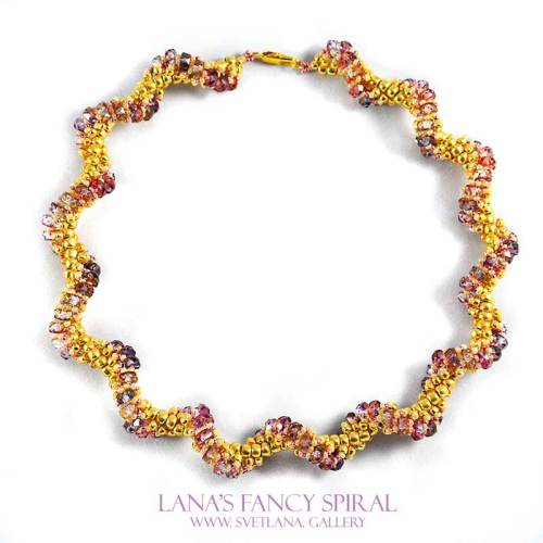 Lana's Fancy Spiral Purple and Pink Version with Czech disk beads - Bead Pattern Gallery