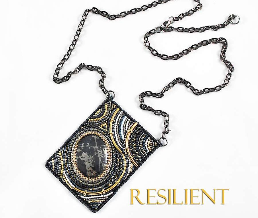 Resilient Necklace Bead Embroidery With Pyrite - handmade statement jewelry at Svetlana.gallery