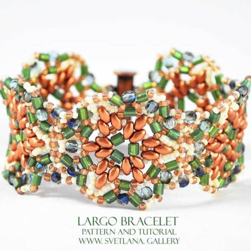 Largo Bracelet Bead Pattern And Tutorial featuring Mini Duo beads