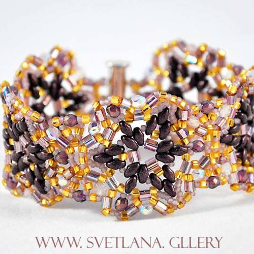 Largo Bracelet Bead Pattern And Tutorial - Purple version