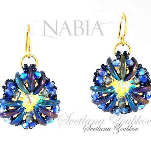 Nabia bead pattern and tutorial for earrings with Crescent beads