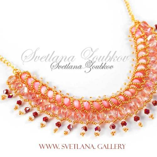 Nerita Necklace Variation - Pink and Gold