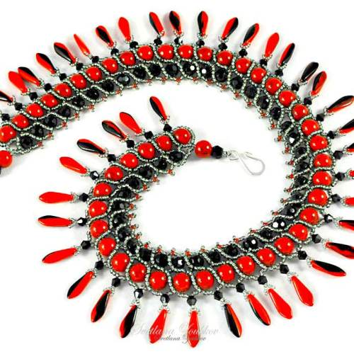 Nerita Necklace Variation in Red and Black
