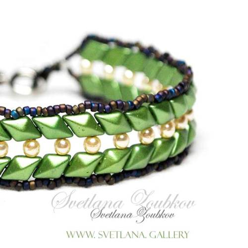 Tyna Bracelet Pattern Tutorial - Forest Green Version
