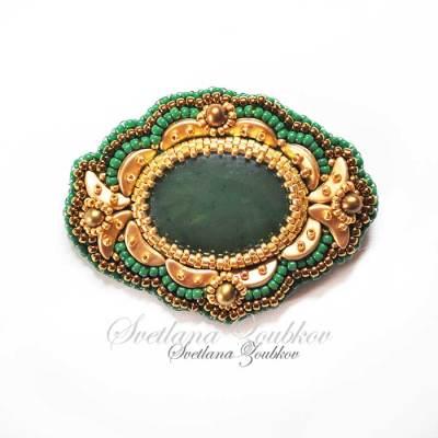 Jade Brooch Bead Embroidery