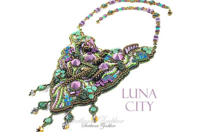 Luna City Necklace Bead Embroidery Experiment