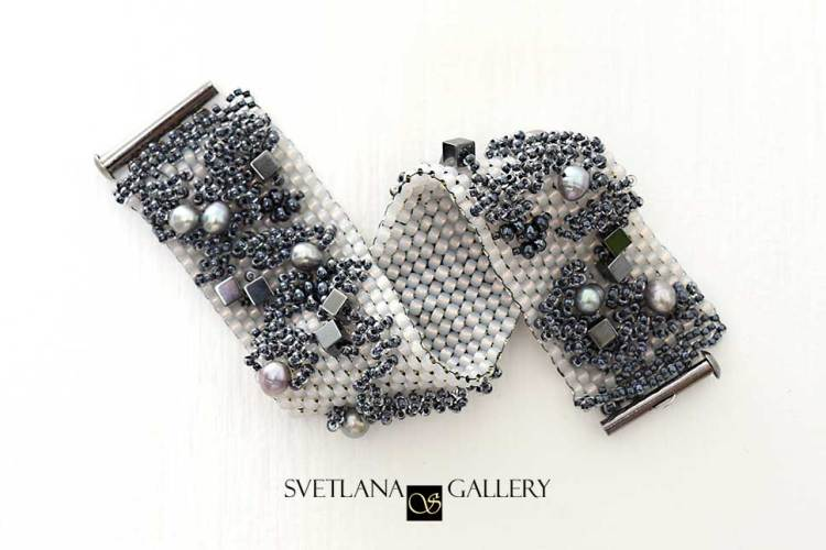 City Style Beaded Bracelet Idea - Peyote Stitch Metallic Colors - Svetlana.Gallery Beading and Embroidery