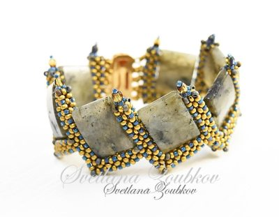 CRAW Stitch Bracelet with Labradorite Beads - Svetlana.Gallery