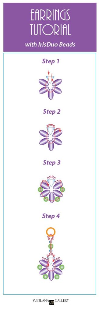 Earrings With IrisDuo Beads Free Beading Pattern Tutorial - Easy to follow diagrams - www.Svetlana.Gallery