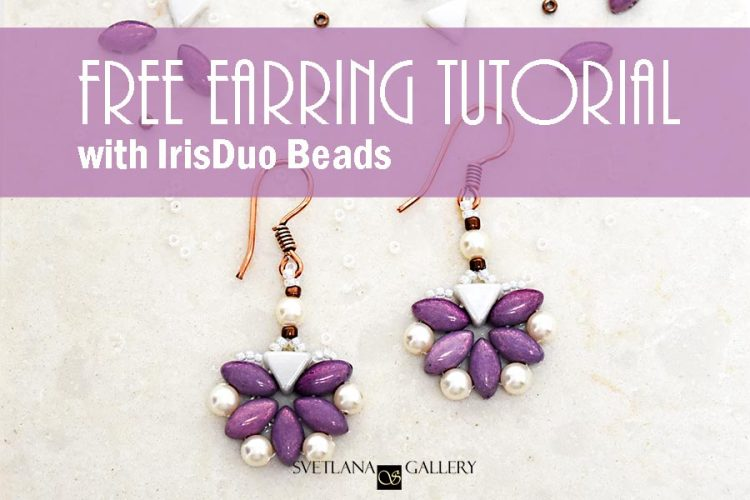 Earrings With IrisDuo Beads Free Beading Pattern Tutorial