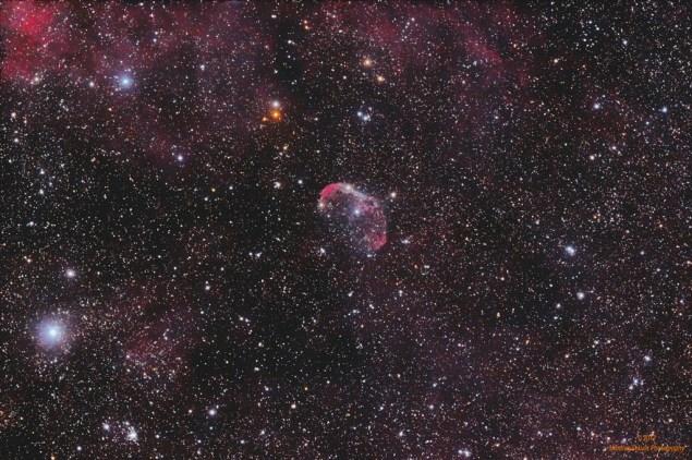 Crescent nebula, NGC 6888, u sazveždju Labud