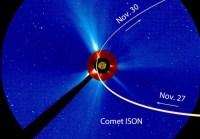 Snimak koronografa LASCO S3 na kome je označena putanja kojom će kometa ISON proći pored Sunca (u centru).