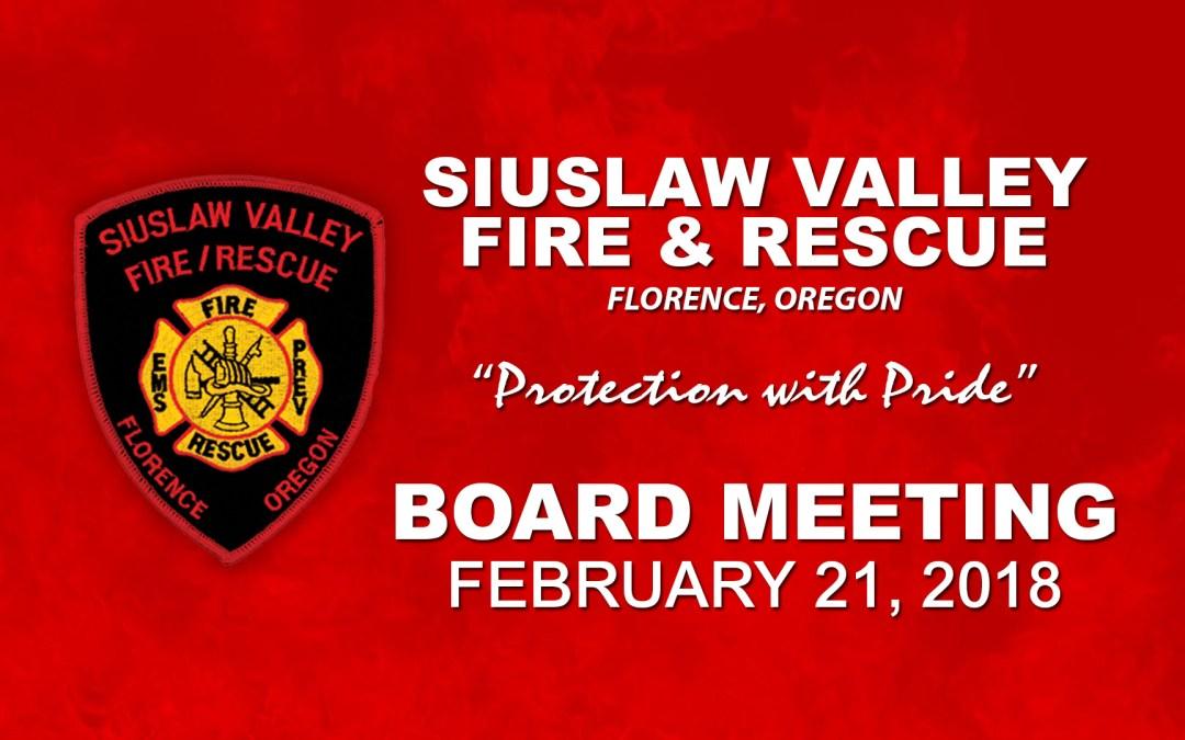 Board Meeting – February 21, 2018