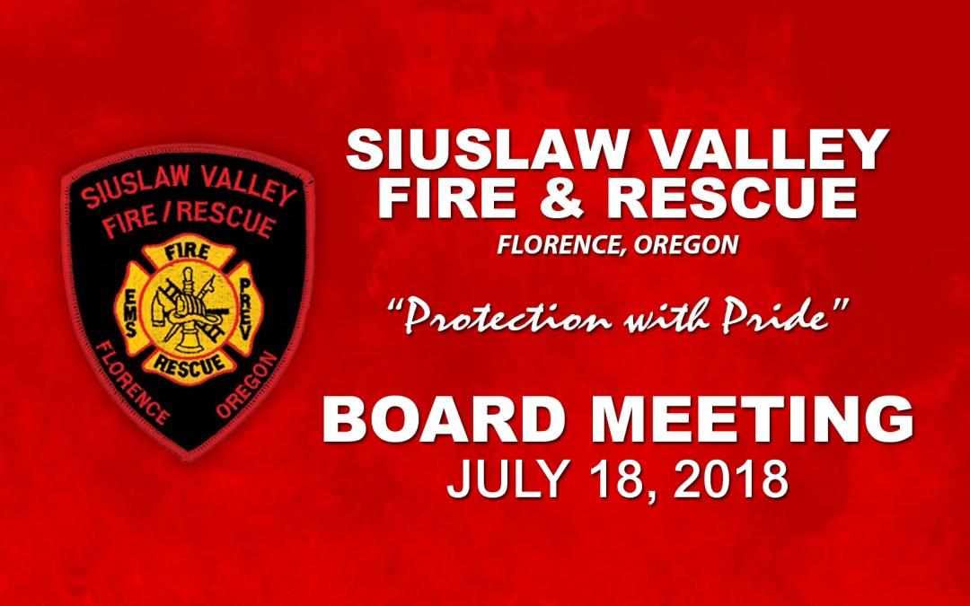 Board Meeting – July 18, 2018
