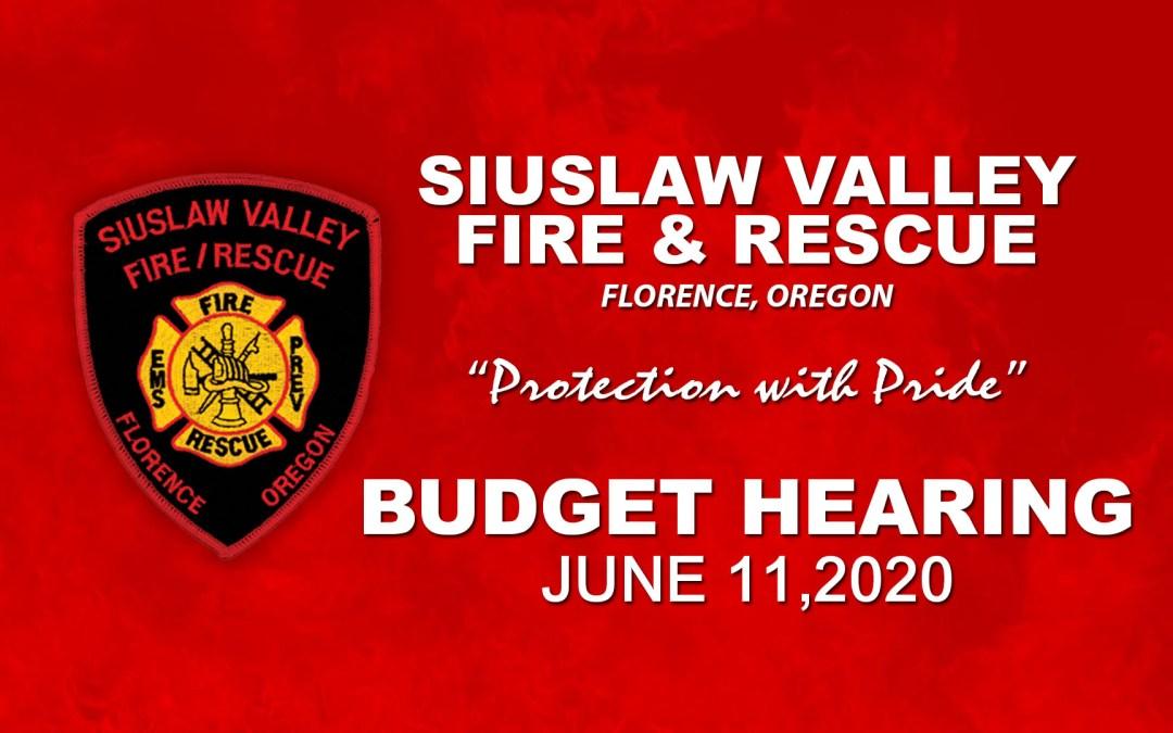 SVFR Budget Hearing – June 11, 2020