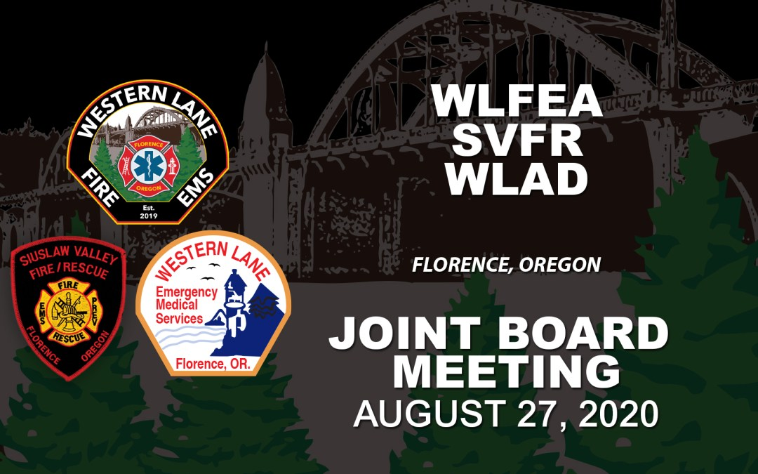 WLFEA/SVFR/WLAD Joint Board Meeting – August 27, 2020